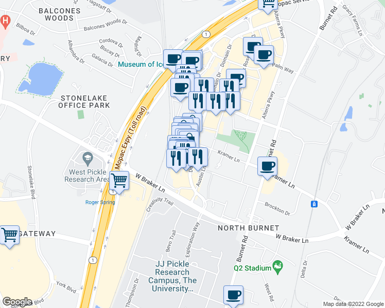 map of restaurants, bars, coffee shops, grocery stores, and more near Amy Donovan Plaza in Austin