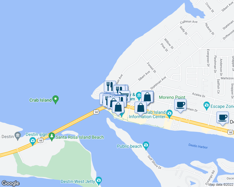 map of restaurants, bars, coffee shops, grocery stores, and more near 100 Calhoun Avenue in Destin