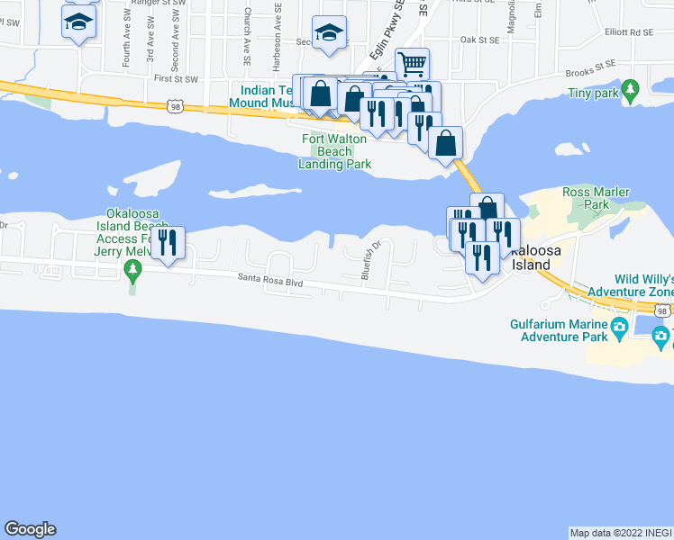 map of restaurants, bars, coffee shops, grocery stores, and more near 354 Billfish Avenue in Fort Walton Beach