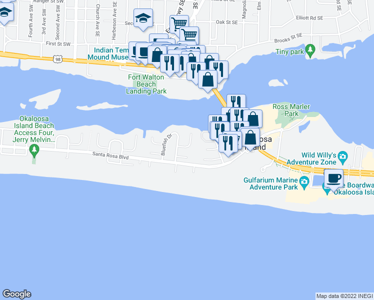 map of restaurants, bars, coffee shops, grocery stores, and more near 312 Bream Avenue in Fort Walton Beach