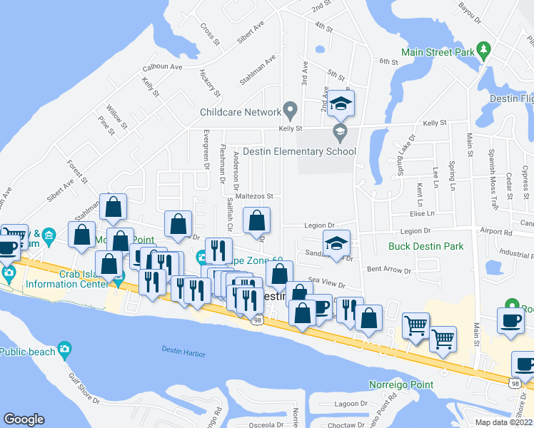 map of restaurants, bars, coffee shops, grocery stores, and more near 308 Snapper Drive in Destin