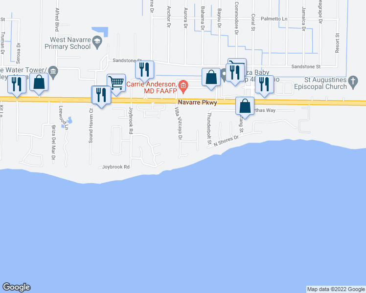 map of restaurants, bars, coffee shops, grocery stores, and more near 1752 Villa Vizcaya Drive in Navarre