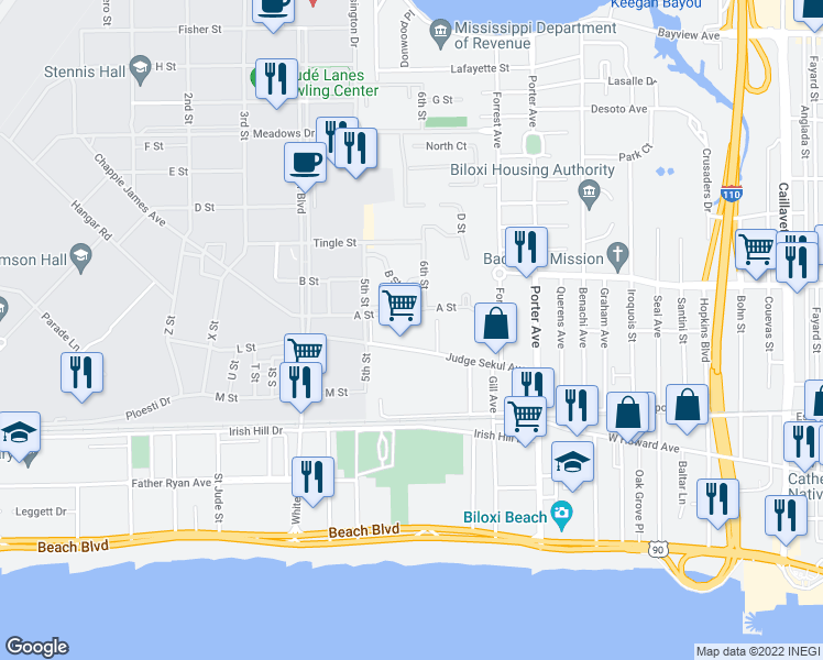 map of restaurants, bars, coffee shops, grocery stores, and more near 1168 Judge Sekul Avenue in Biloxi