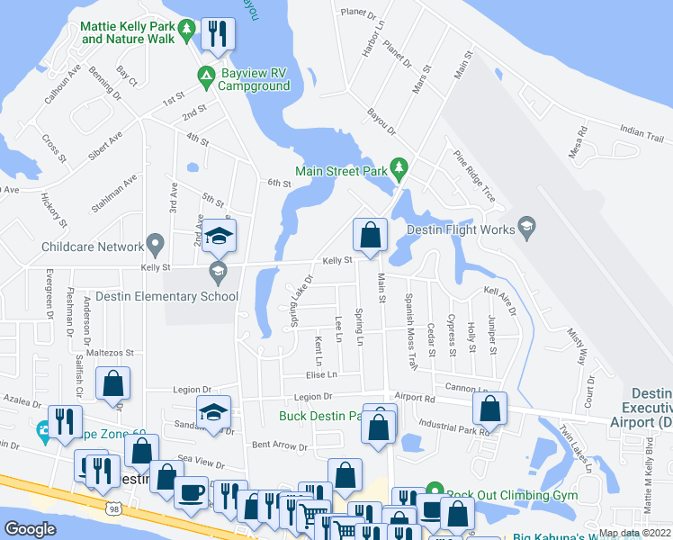 map of restaurants, bars, coffee shops, grocery stores, and more near 734 Kelly Street in Destin