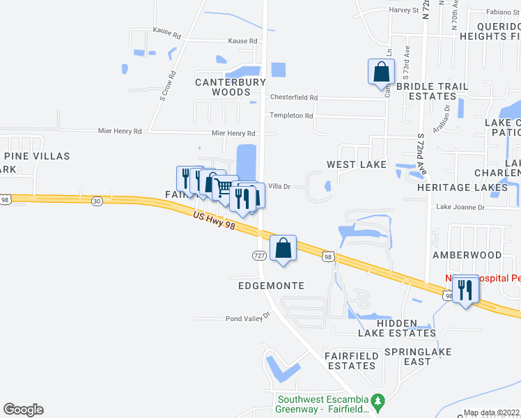 map of restaurants, bars, coffee shops, grocery stores, and more near 703 West Fairfield Drive in Pensacola