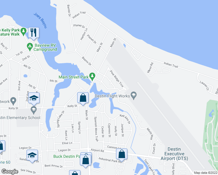 map of restaurants, bars, coffee shops, grocery stores, and more near 817 North Lakeside Drive in Destin
