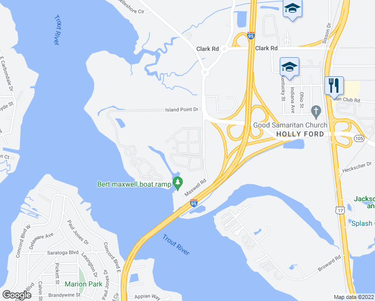 map of restaurants, bars, coffee shops, grocery stores, and more near 800 Broward Road in Jacksonville