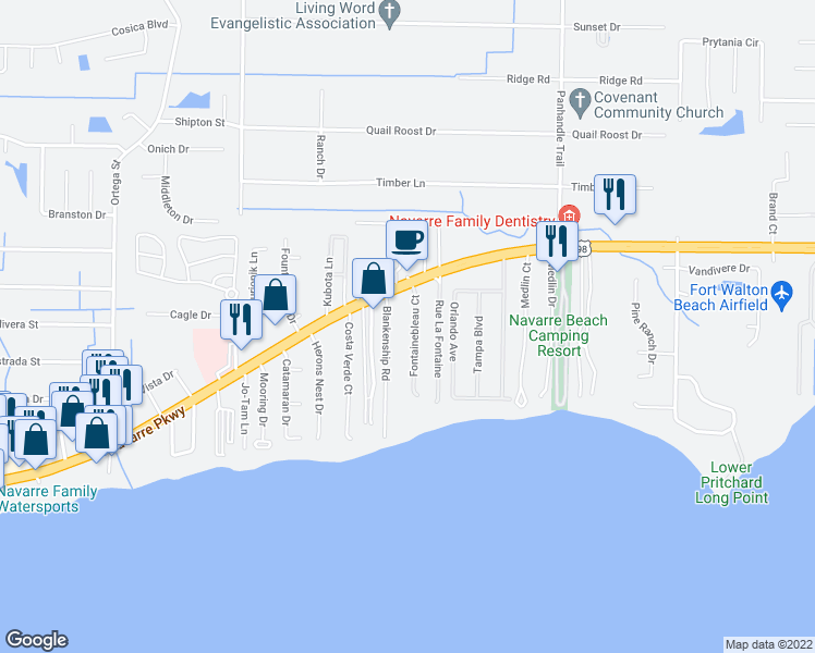 map of restaurants, bars, coffee shops, grocery stores, and more near 2021 Fontainebleau Court in Navarre