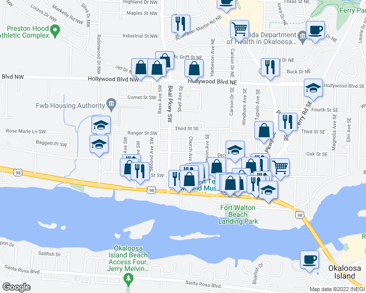 map of restaurants, bars, coffee shops, grocery stores, and more near 115 Shell Avenue Southeast in Fort Walton Beach