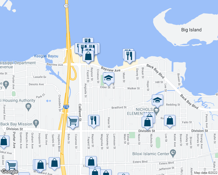 map of restaurants, bars, coffee shops, grocery stores, and more near 388 Magnolia Street in Biloxi