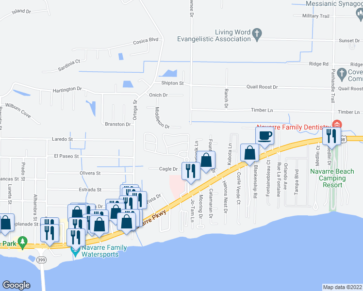 map of restaurants, bars, coffee shops, grocery stores, and more near 8889 White Ibis Way in Navarre