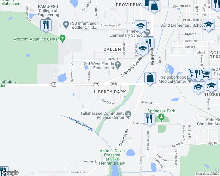 map of restaurants, bars, coffee shops, grocery stores, and more near 2703 Lake Palm Drive in Tallahassee