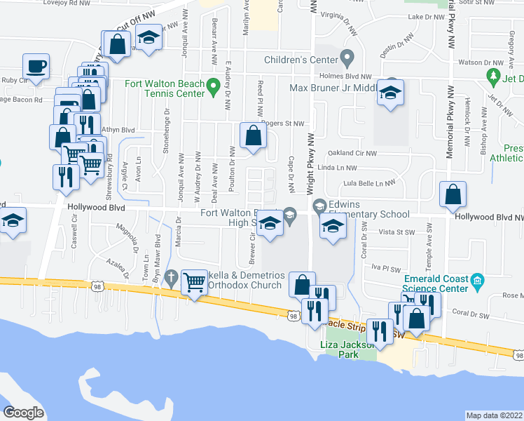 map of restaurants, bars, coffee shops, grocery stores, and more near 400 Hollywood Boulevard Southwest in Fort Walton Beach