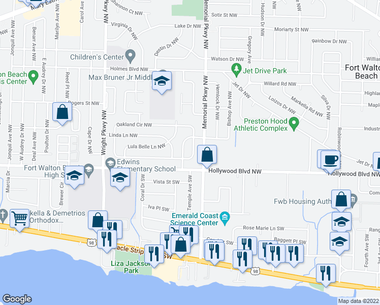 map of restaurants, bars, coffee shops, grocery stores, and more near 429 Oakland Circle Northwest in Fort Walton Beach