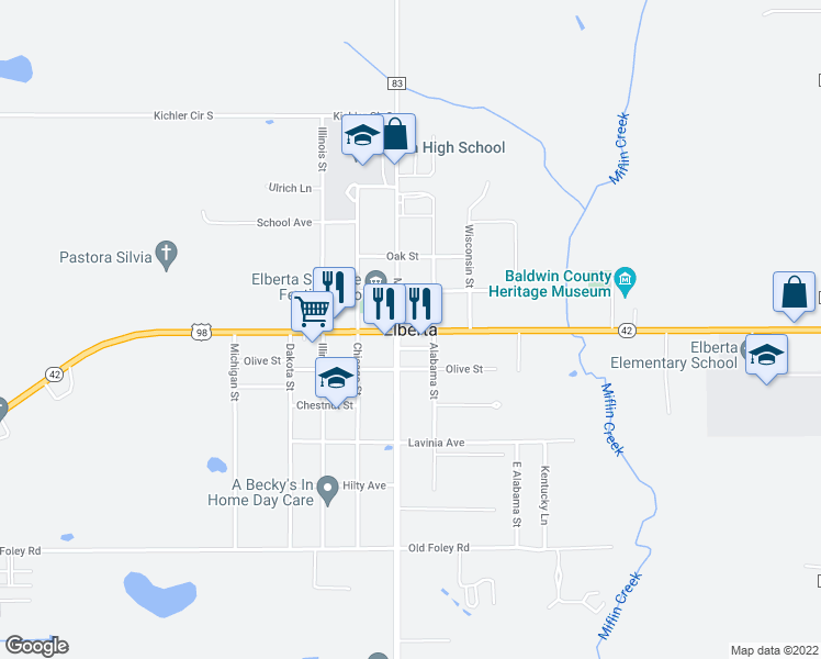 map of restaurants, bars, coffee shops, grocery stores, and more near in Elberta