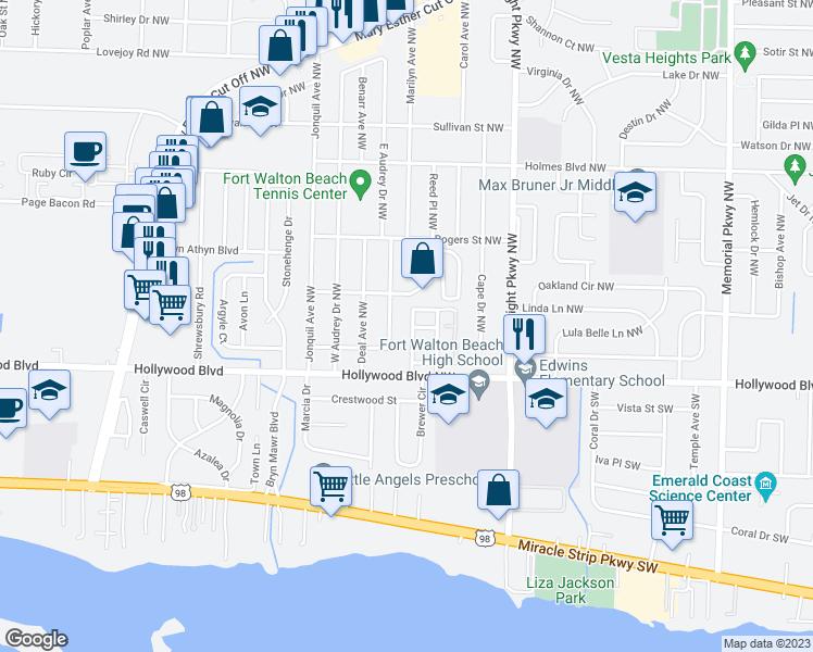 Map Of Fort Walton Beach Florida.10 Viking Drive Northwest Fort Walton Beach Fl Walk Score