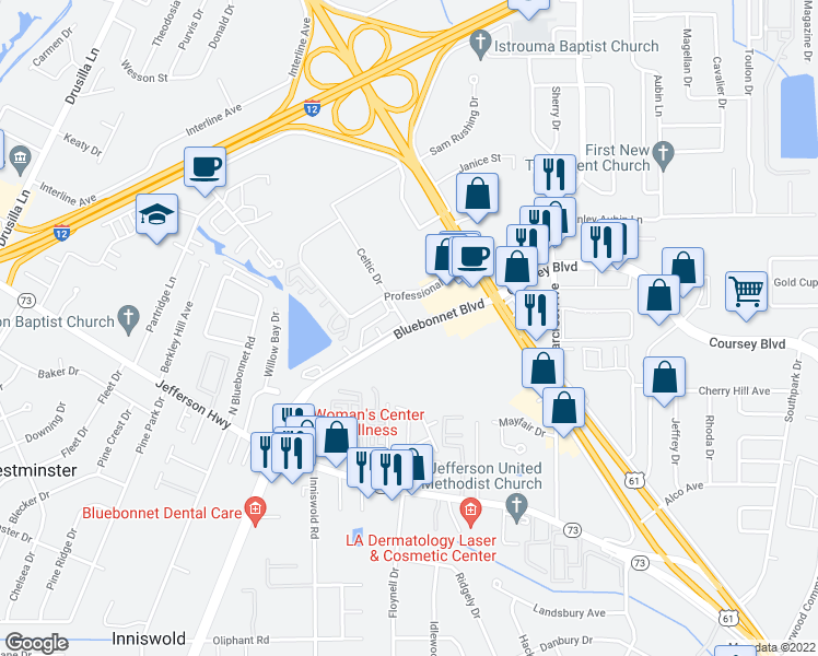 map of restaurants, bars, coffee shops, grocery stores, and more near Bluebonnet Blvd & Celtic Dr in Baton Rouge