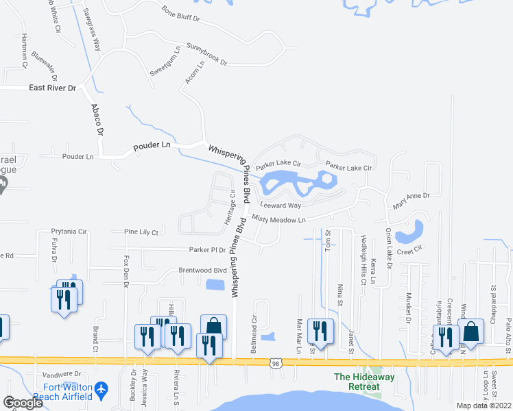 map of restaurants, bars, coffee shops, grocery stores, and more near 9637 Leeward Way in Navarre