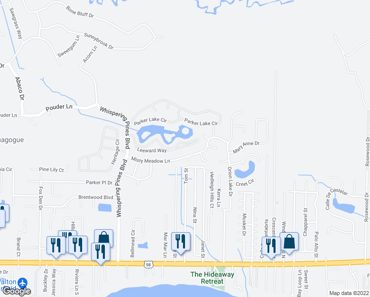 map of restaurants, bars, coffee shops, grocery stores, and more near 9745 Leeward Way in Navarre