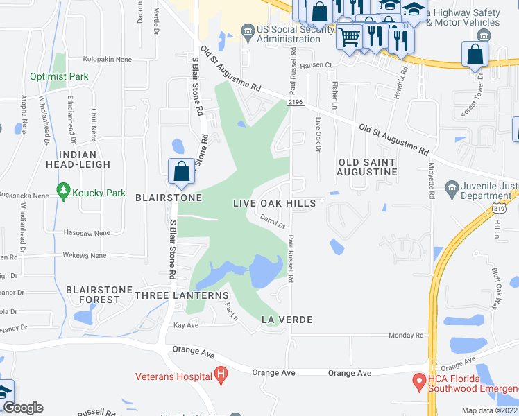 map of restaurants, bars, coffee shops, grocery stores, and more near 1831 Larette Drive in Tallahassee