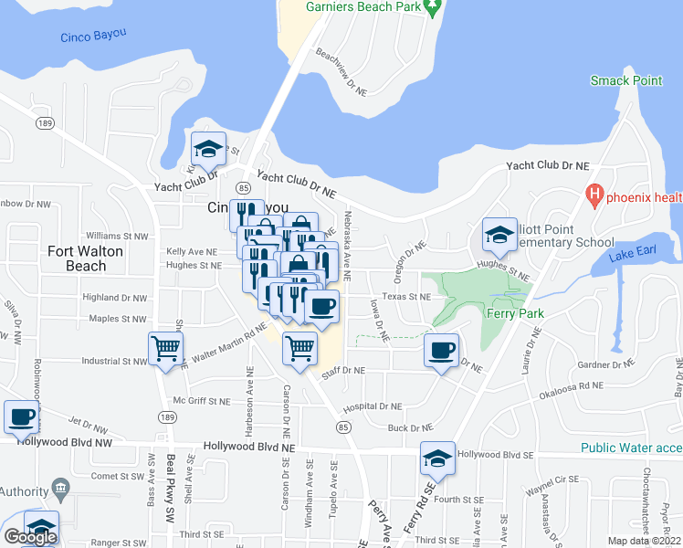 map of restaurants, bars, coffee shops, grocery stores, and more near 122 Hughes Street Northeast in Fort Walton Beach
