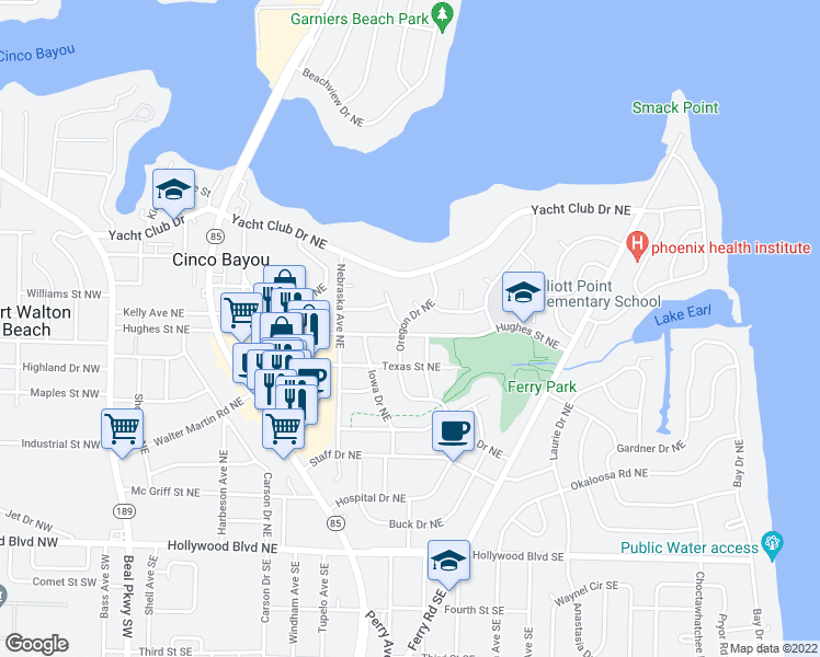 map of restaurants, bars, coffee shops, grocery stores, and more near 101 Oregon Drive Northeast in Fort Walton Beach