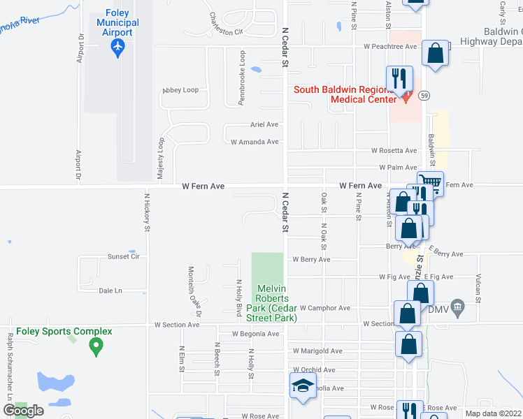 map of restaurants, bars, coffee shops, grocery stores, and more near 1215 Surrey Loop in Foley