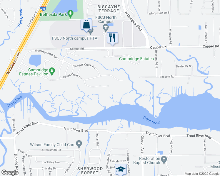 map of restaurants, bars, coffee shops, grocery stores, and more near 4008 Broad Creek Lane in Jacksonville