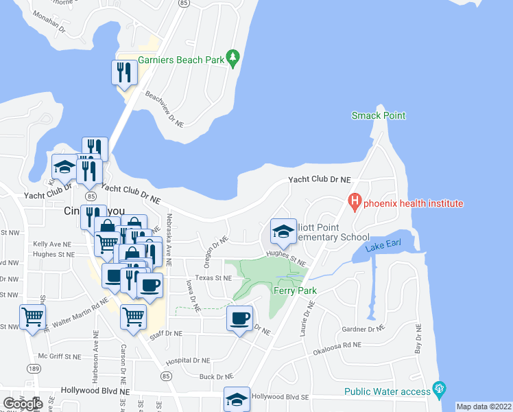 map of restaurants, bars, coffee shops, grocery stores, and more near 244 Yacht Club Drive Northeast in Fort Walton Beach