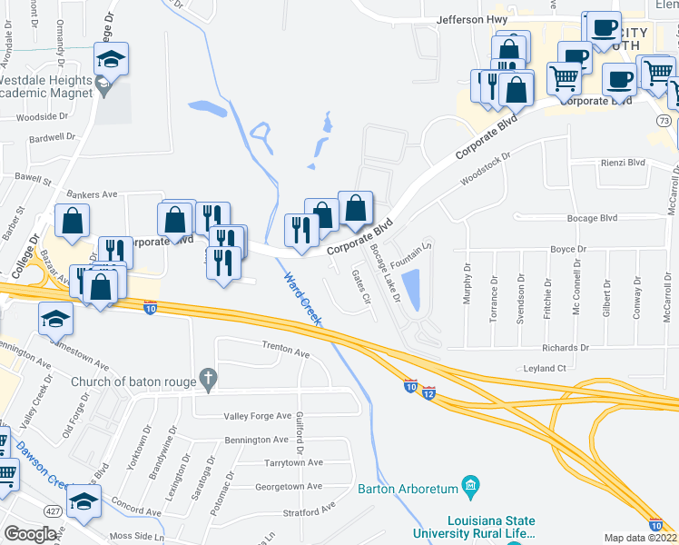 map of restaurants, bars, coffee shops, grocery stores, and more near 2500 Gates Circle in Baton Rouge