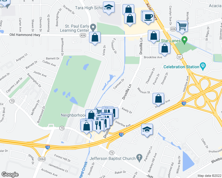 map of restaurants, bars, coffee shops, grocery stores, and more near 2755 Fairway Drive in Baton Rouge