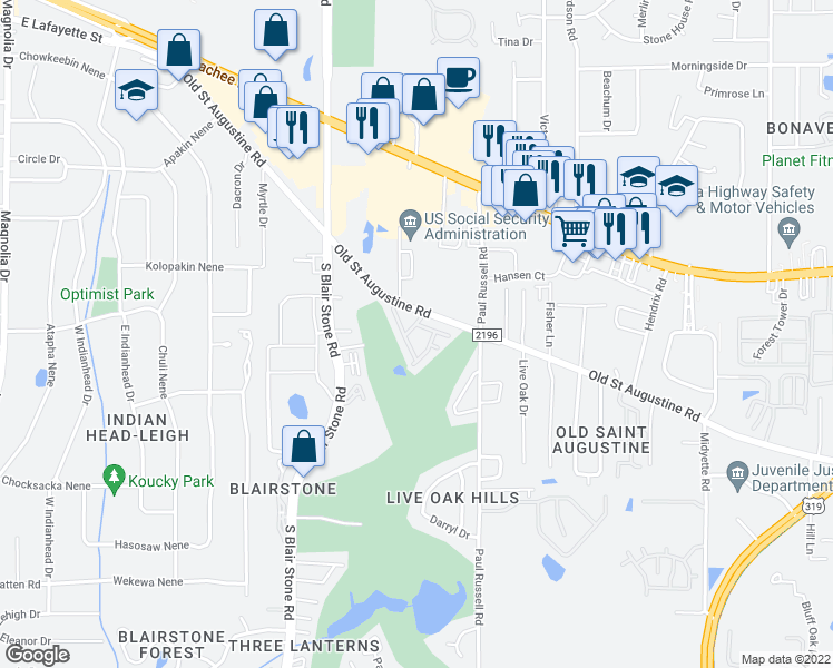 map of restaurants, bars, coffee shops, grocery stores, and more near 2001 Old Saint Augustine Road in Tallahassee