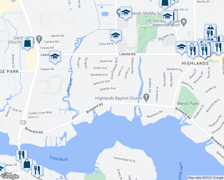 map of restaurants, bars, coffee shops, grocery stores, and more near 2386 Dolphin Avenue in Jacksonville