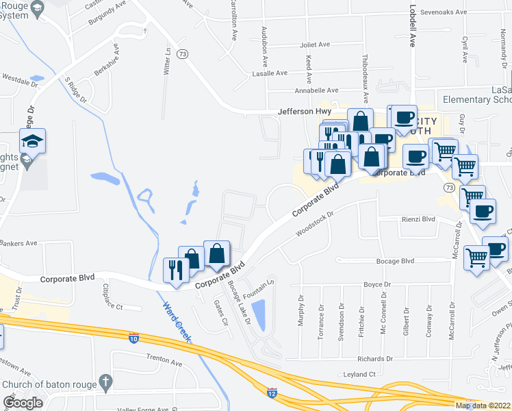 map of restaurants, bars, coffee shops, grocery stores, and more near 6929 Commerce Circle in Baton Rouge