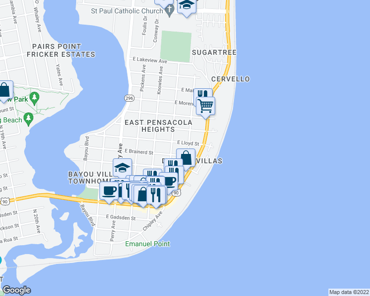 map of restaurants, bars, coffee shops, grocery stores, and more near 3209 East Lloyd Street in Pensacola