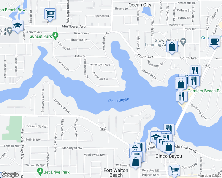 map of restaurants, bars, coffee shops, grocery stores, and more near 537 Pocahontas Drive in Fort Walton Beach