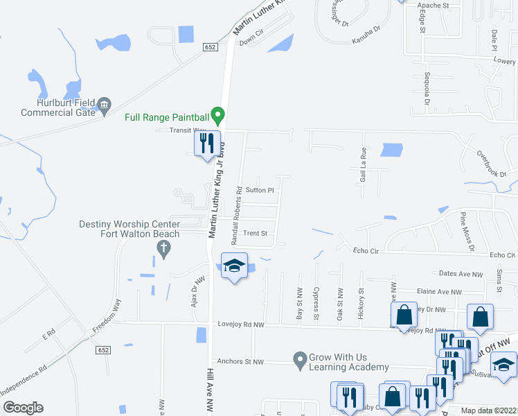map of restaurants, bars, coffee shops, grocery stores, and more near 1616 Ella Ruth Drive in Fort Walton Beach