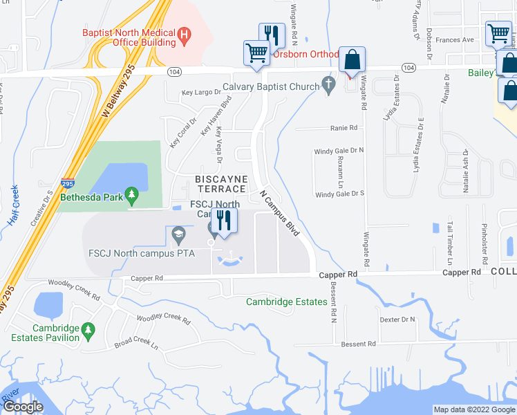map of restaurants, bars, coffee shops, grocery stores, and more near 10814 Naples Court South in Jacksonville