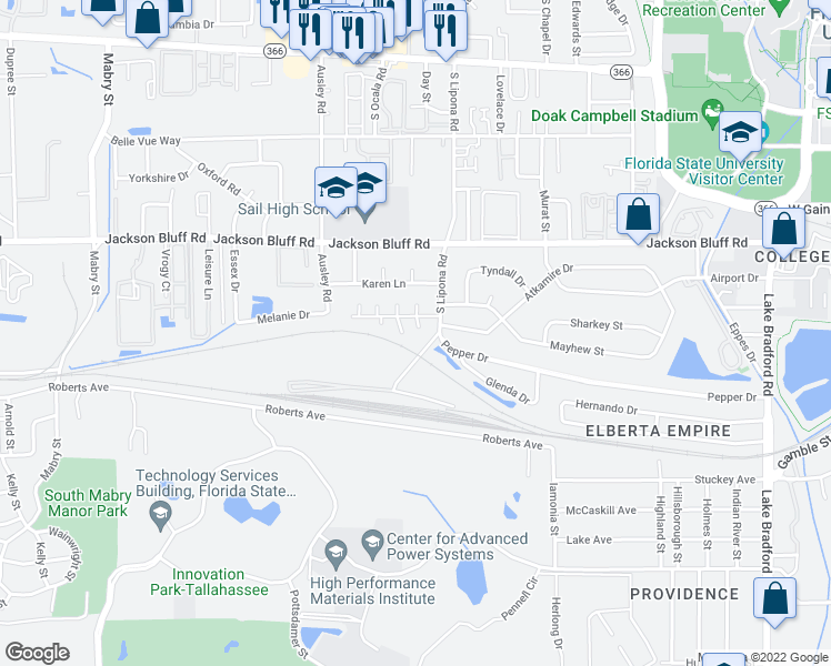 map of restaurants, bars, coffee shops, grocery stores, and more near 914 Pow Wow Trail in Tallahassee