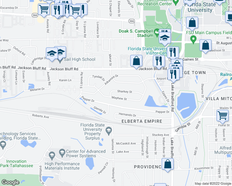 map of restaurants, bars, coffee shops, grocery stores, and more near 1667 Sharkey Street in Tallahassee