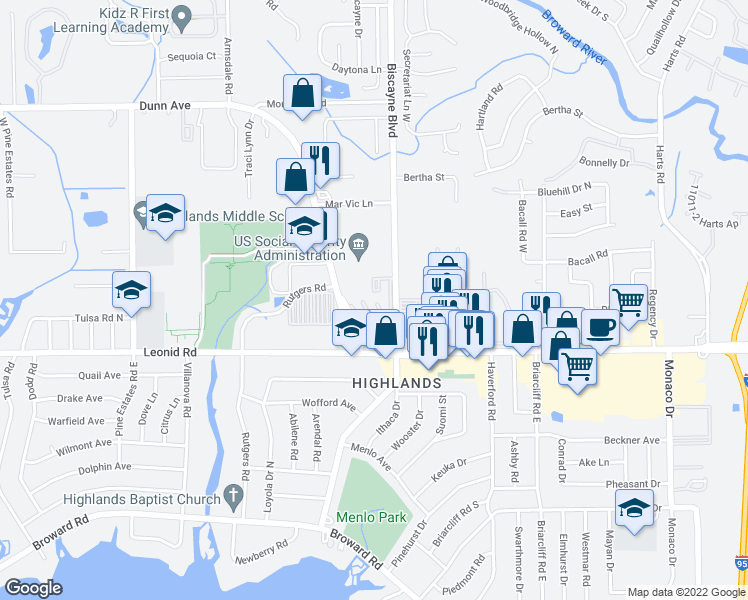 map of restaurants, bars, coffee shops, grocery stores, and more near 1601 Dunn Avenue in Jacksonville