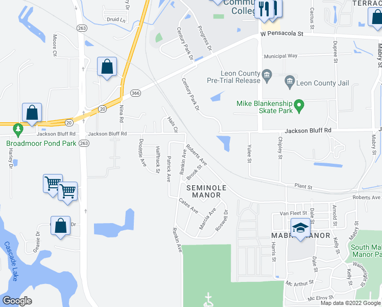 map of restaurants, bars, coffee shops, grocery stores, and more near 3971 Roberts Avenue in Tallahassee