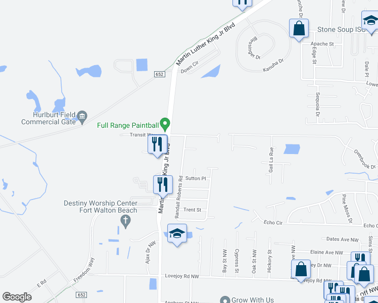 map of restaurants, bars, coffee shops, grocery stores, and more near 1618 Jennifer Court in Fort Walton Beach
