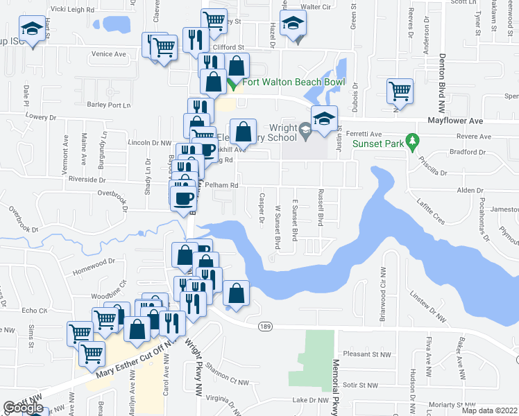 map of restaurants, bars, coffee shops, grocery stores, and more near 208 Casper Drive in Fort Walton Beach