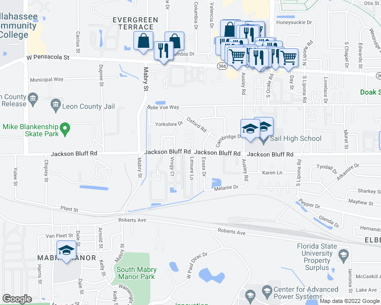 map of restaurants, bars, coffee shops, grocery stores, and more near 2315 Jackson Bluff Road in Tallahassee
