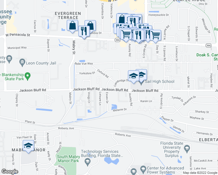 map of restaurants, bars, coffee shops, grocery stores, and more near 419 Essex Drive in Tallahassee