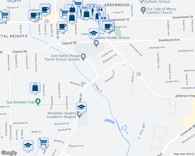 map of restaurants, bars, coffee shops, grocery stores, and more near College Dr & S Foster Dr in Baton Rouge