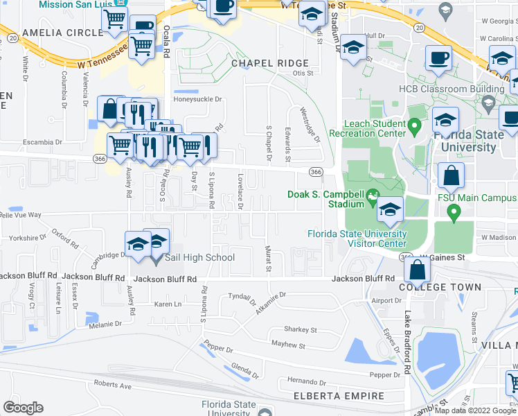 map of restaurants, bars, coffee shops, grocery stores, and more near 254 Soho Court in Tallahassee