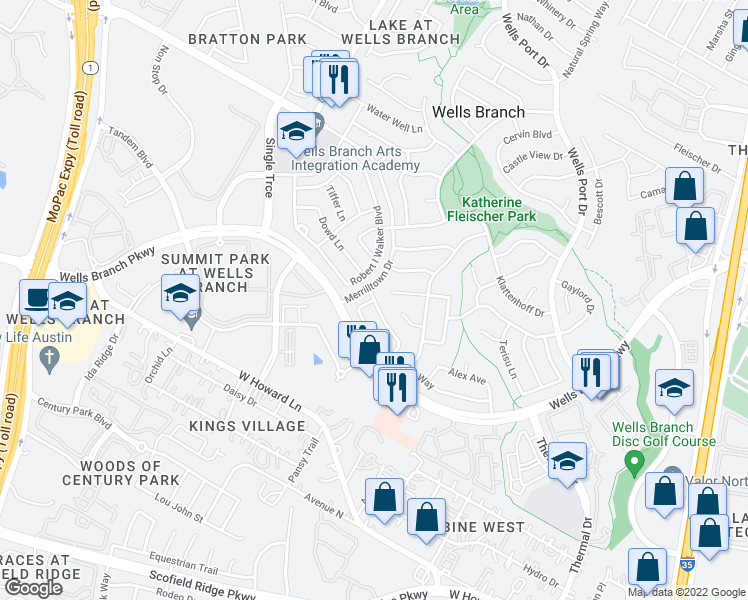 map of restaurants, bars, coffee shops, grocery stores, and more near Anita Marie Lane in Austin