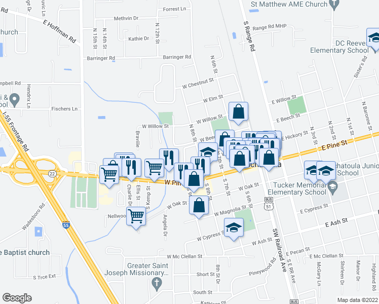 map of restaurants, bars, coffee shops, grocery stores, and more near 255 North 8th Street in Ponchatoula